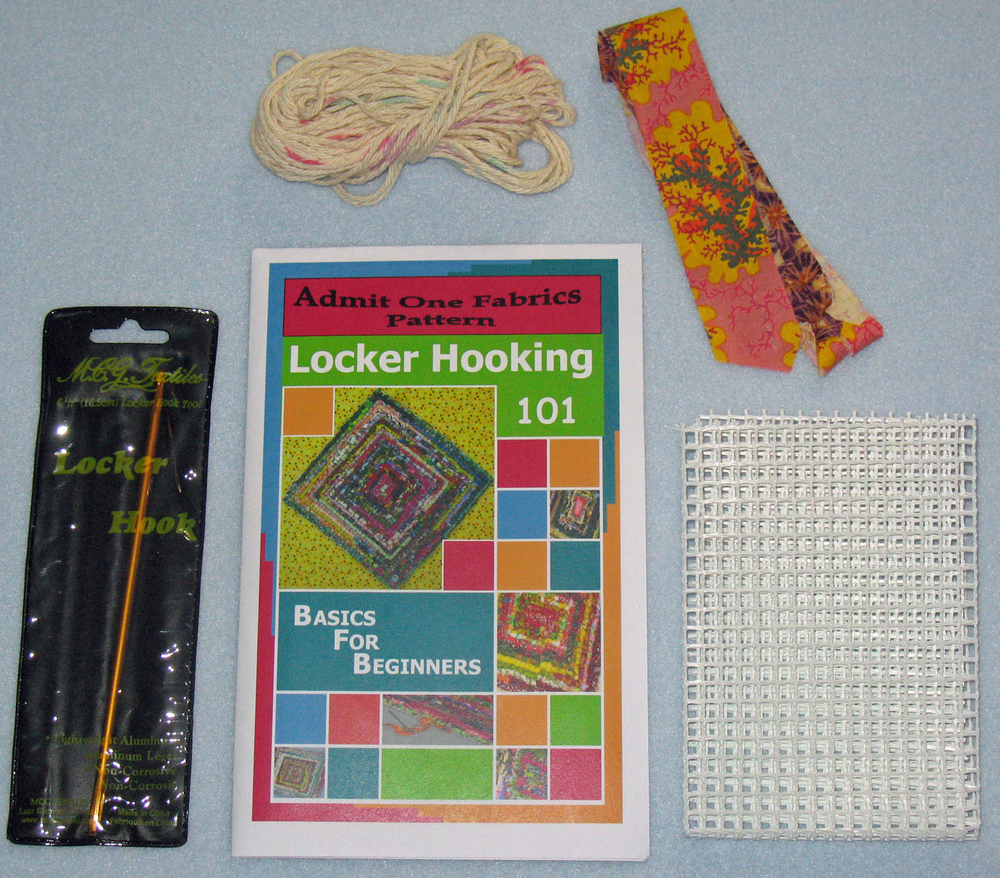 Locker Hooking 101 Kit Includes Rug Backing To Make A 9 X Trivet Instructions 4 Ply 100 Cotton Yarn Sample Fabric Strips Showing How Attach