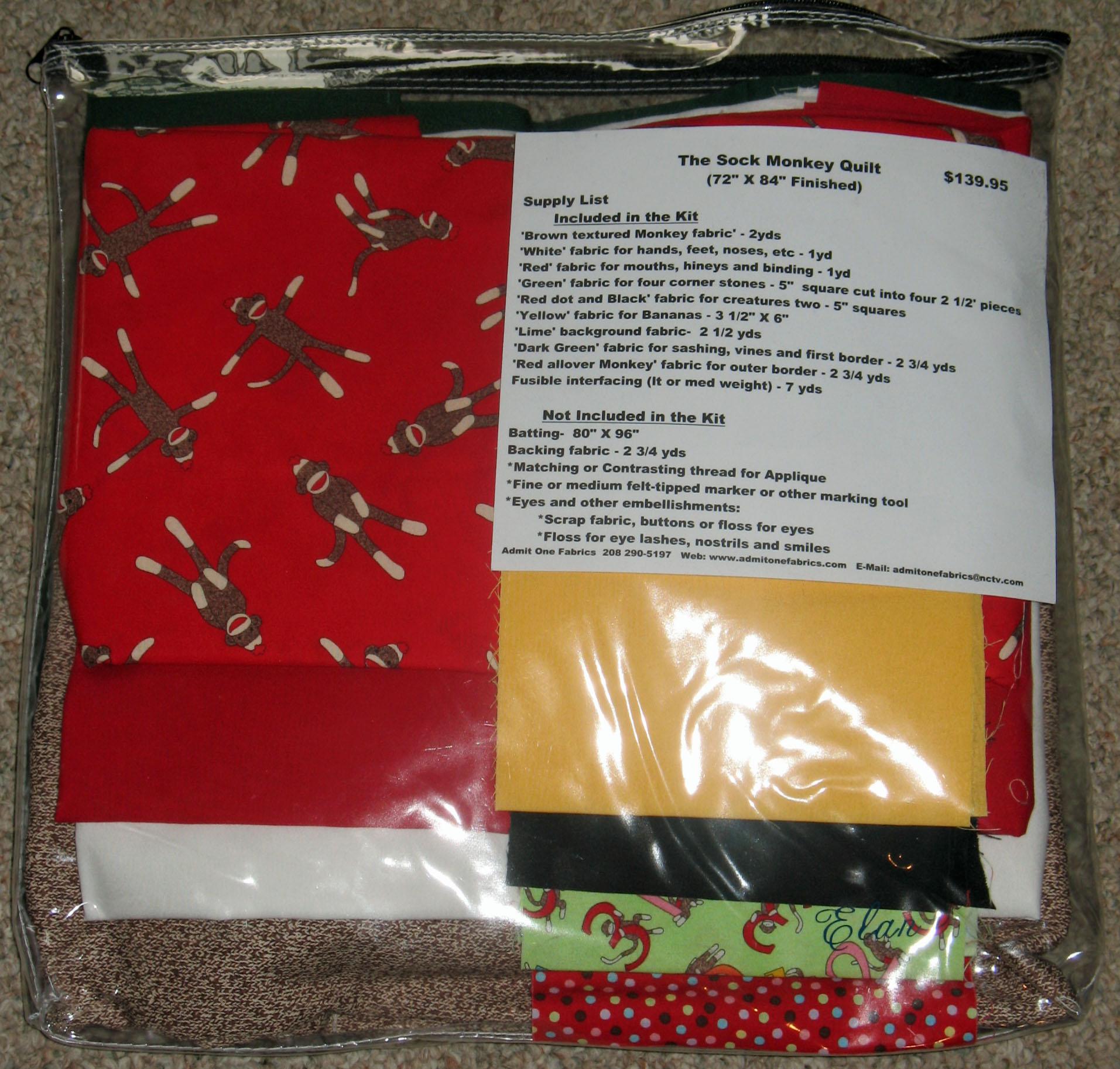 Funky Monkey Fabric and Kits - Admit One Fabrics